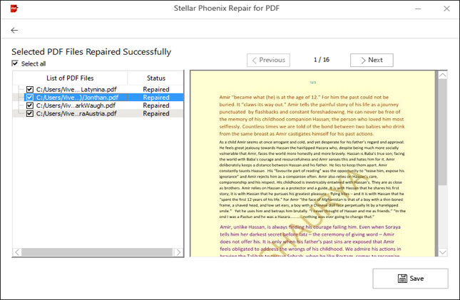 Repair for PDF Preview