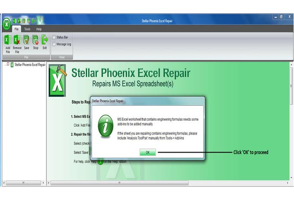 Initial screen of Excel Repair as you Download and Install.