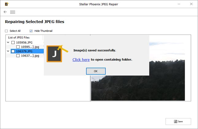 Click 'Save' button to save repaired JPEG files.