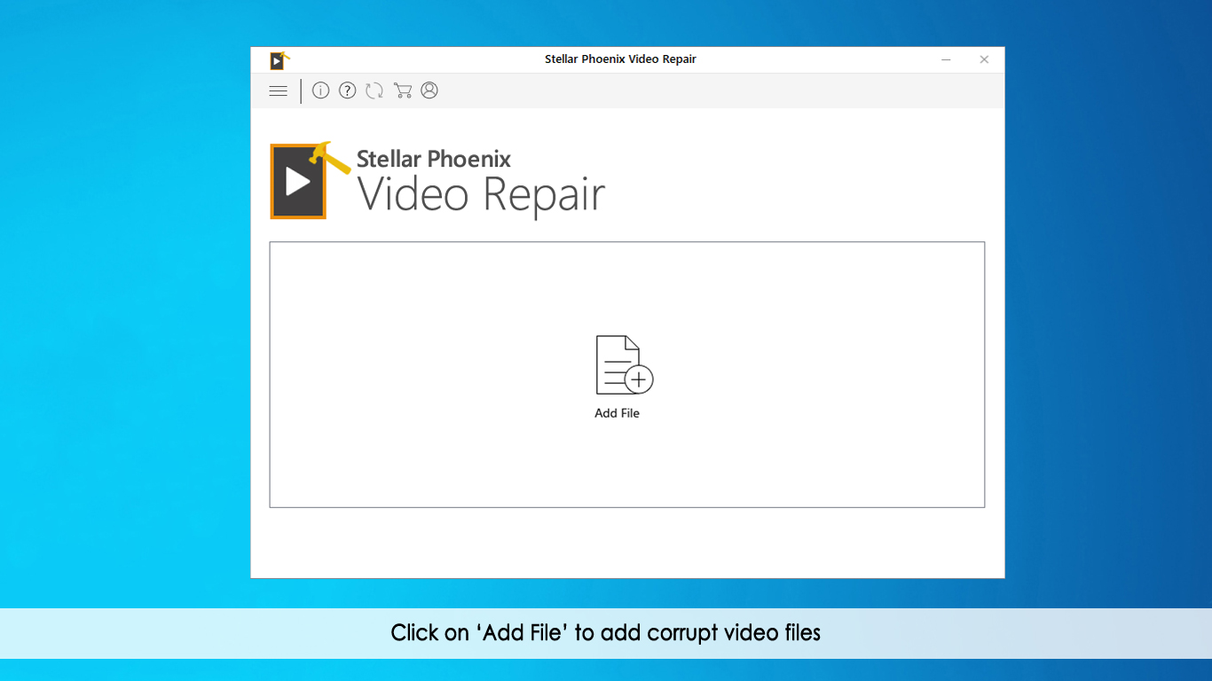 This is the first screen of Stellar Phoenix Video Repair. Click on 'Repair Video'