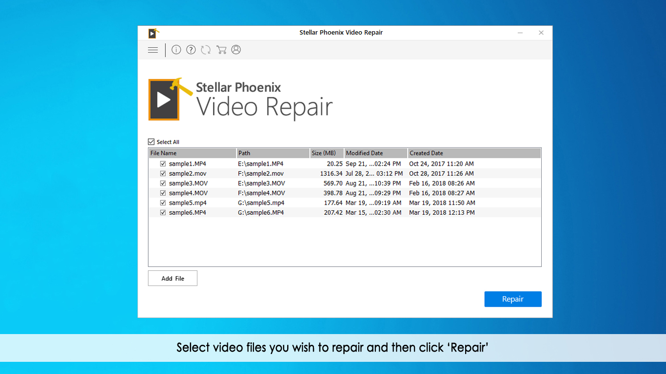 Click on 'Repair' button to start repairing process.