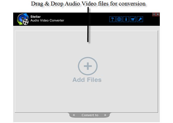 Drag & Drop Audio Video File for Conversion.