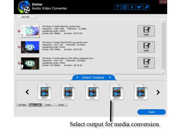 Select Output for Media Conversion.