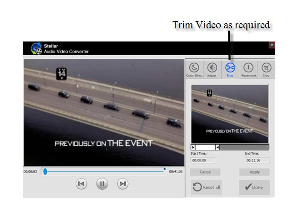 Adjust & Trim Video as required.