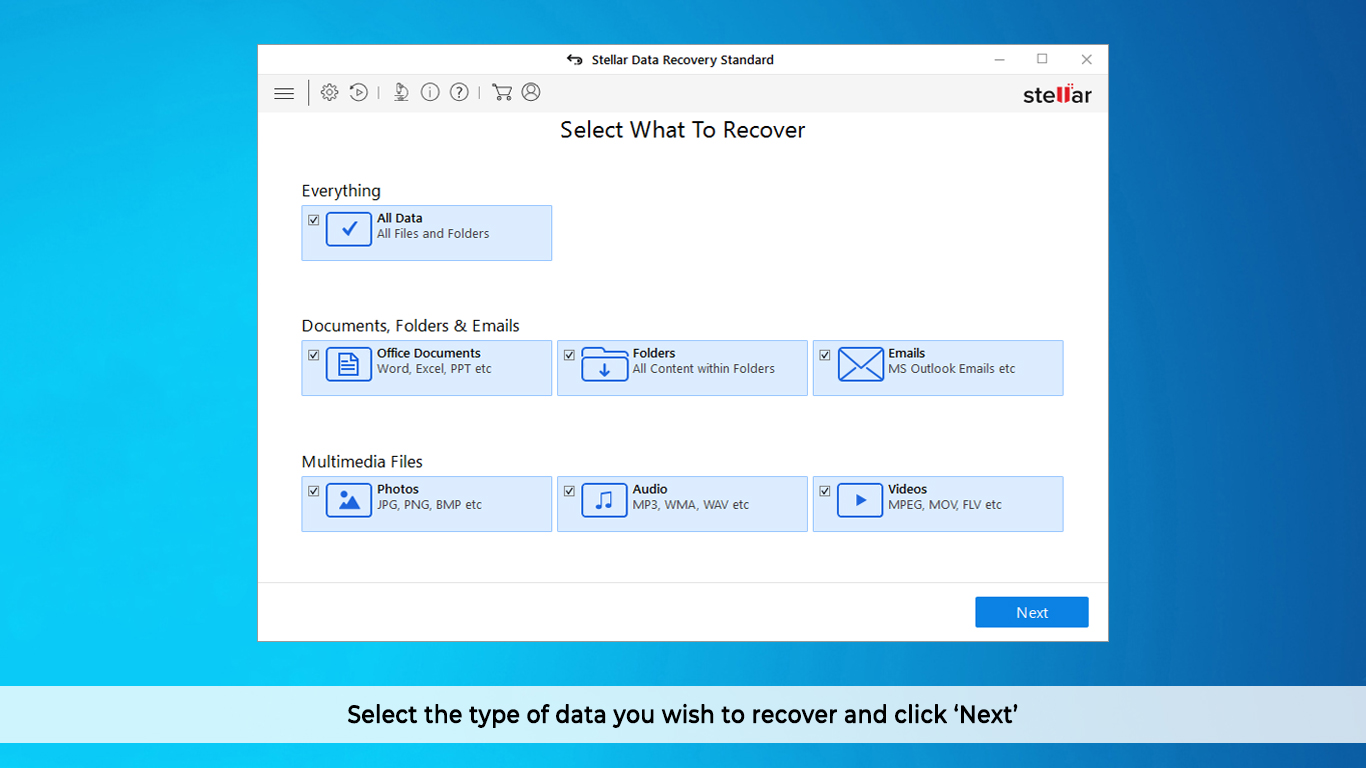 Select the type of data that you want to recover and click 'Next'.
