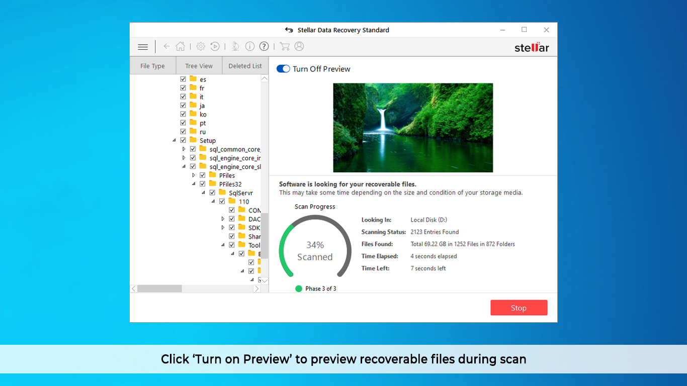 Click 'Turn on Preview' to showing files while scanning.