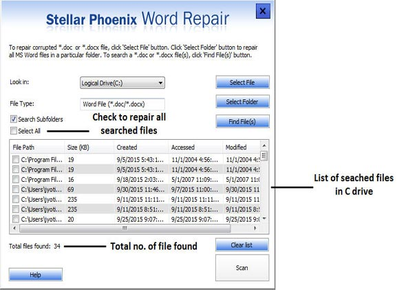Select file or folders which word files you wants to repair.