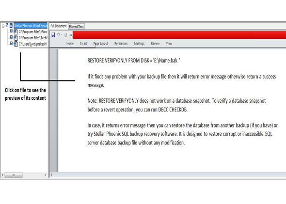 After reparing process completed. Show the preview of repair (.doc & .docx file).